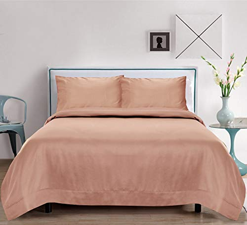 LINENWALAS Organic Bamboo Sheets Set 4 PC - 100% Natural Softest Coolest Bedding (Queen, Rose Gold)