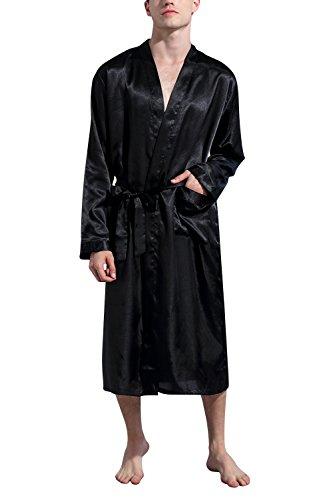 Dolamen Albornoz para Hombre Vestido Batas y Kimonos Satén, Suave y Ligero Satén Camisón, Robe Albornoz Ropa de Dormir Pijama con Cinturón y Bolsillos (Large, Negro)