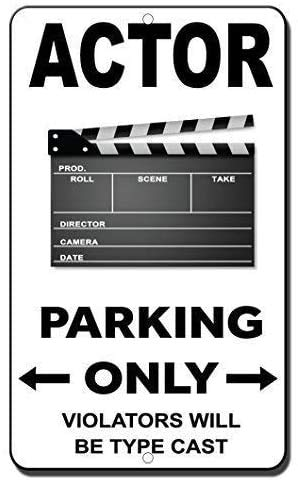 Actor Parking Only Violators Will Be Type Cast Blechschild Retro Warnschild Vintage Metall Poster Plakette Eisen Malerei Kunst Dekor für Home Cafe Garden Pub Büro 30x20 cm