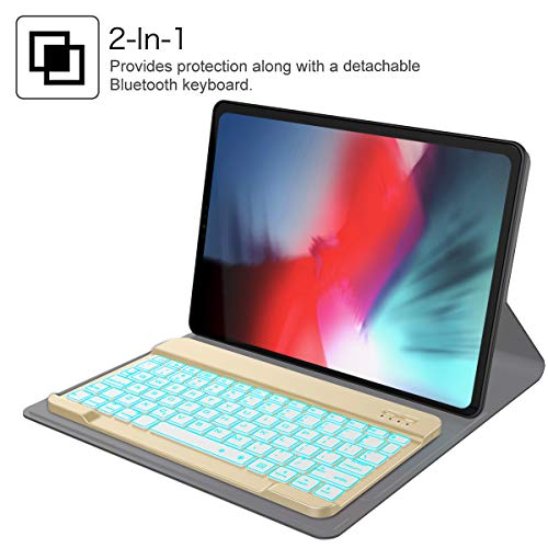 iPad Pro 12.9 inch 2018 Keyboard Case£¬Fusutonus - Smart Folio PU Leather Cover + 7 Color Backlit Keyboard [Support Apple Pencil Wireless Charging] All Around Protection for iPad Pro 12.9, Gloden