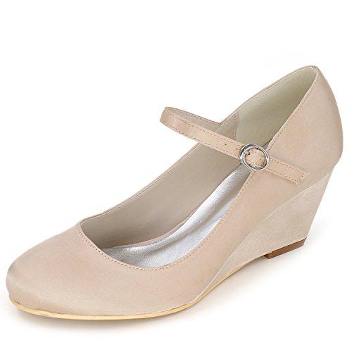 Elaboky Zapatos De Boda De Las Mujeres Bombas Cerrado Plataforma Redonda Dama De Honor SeñOra Fiesta Satin Lady /6.5cm TacóN, Champagne, 41