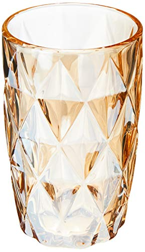 Cj 6 Copos Altos De Vidro Diamond Âmbar Metalizado 350ml Lyor Âmbar Metalizado No Voltagev