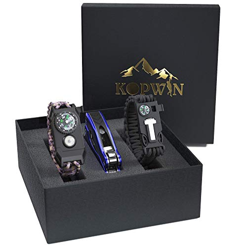 Kopwin Paracord Survival Bracelet Set - Bonus Keychain Multitool Included. Paracord Bracelet with Compass, Magnesium Flint Fire Starter, Emergency Whistle, and Led Light. Set of 2 (Camo)