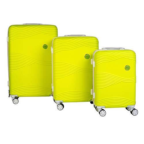 Enrico Coveri Moving Set Tre Trolley Fluo da Viaggio, Valigie Rigide in 3 Dimensioni Con Struttura ABS Antigraffio e Antiurto (Verde Fluo)