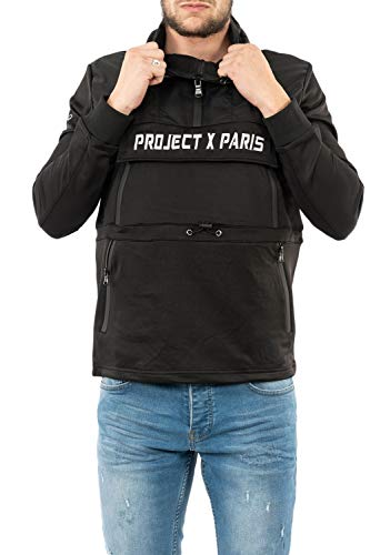 Project X Paris Herren-Kapuzen-Sweatshirt, winddicht, aus zwei Materialien Gr. Small, Schwarz