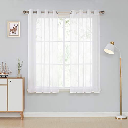 Deconovo Vorhang Weiß Transparent Gardinen mit Ösen Wohnzimmer Ösenschal Ösenvorhang 175x140 cm Weiß 2er Set