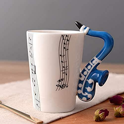 BANNAB Taza de cerámica Taza de música Linda Taza de café con Leche Saxofón Azul Cinco líneas