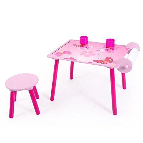 Homestyle4u 1125 kinderzitgroep vlinder kinderen meisjes 2-delige set kinderen 1 tafel/schildertafel 1 kruk papierrol houten stiftenbox