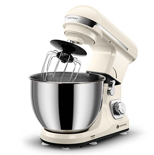 Ventray Stand Mixer 500W 6 Speed Tilt-Head Electric Kitchen Food Mixer with 4.5QT Stainless Steel Bowl, Dough Hook, Pouring Shield, Flat Beater-Cream Beige