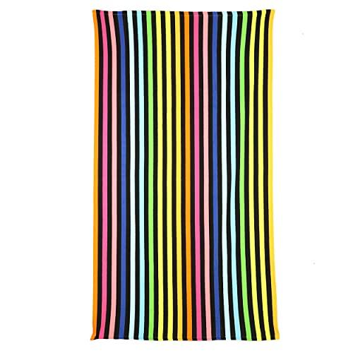 Toalla de Playa Grande Antiarena Toalla 100% Microfibra 90x170cm Toallas de Piscina Grandes Suave y de Secado Rápido - Raya Multicolor ✅