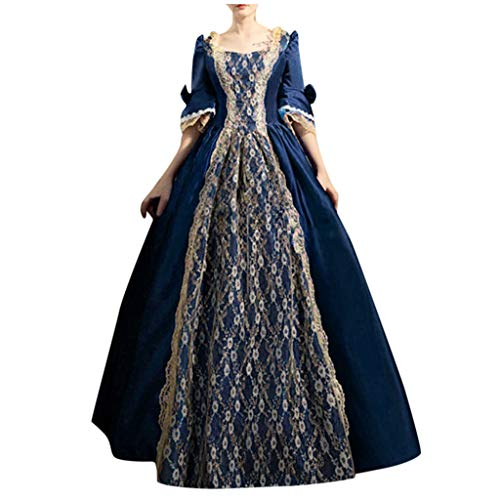 VEKDONE Women Plus Size Rococo Ball Gown Gothic Victorian Dress Costume Gothic Period Reenactment Theater Costumes(Navy,5X-Large)