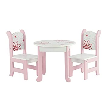 18 Inch Doll Furniture Fits 18  American Girl Dolls - Floral Doll Table and Chairs Set for My Life Dolls