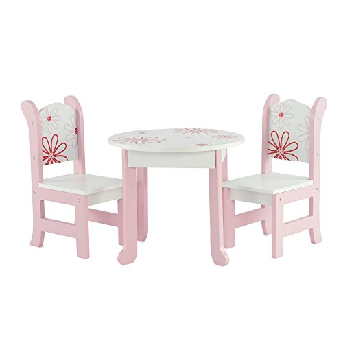 18 Inch Doll Furniture Fits 18' American Girl Dolls - Floral Doll Table and Chairs Set for My Life Dolls