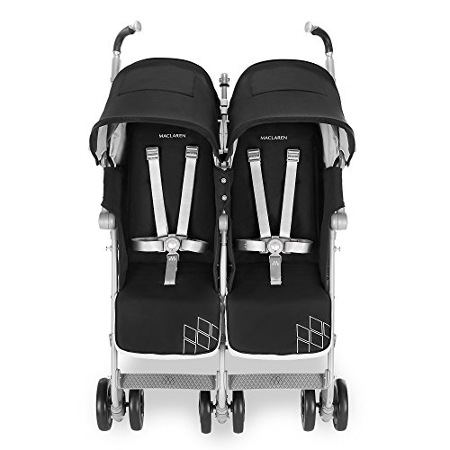 Maclaren Twin Techno Stroller- for Newborns+ Full-Featured, Lightweight, Compact, Easy to Maneuver. Fits in Standard doorways, Independent extendable Hoods, Reclining Seats. Acc. Included