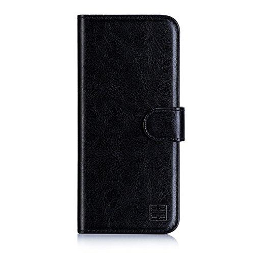 32nd PU Leder Mappen Hülle Flip Hülle Cover für Motorola Moto E5 Plus, Ledertasche hüllen mit Magnetverschluss & Kartensteckplatz - Schwarz