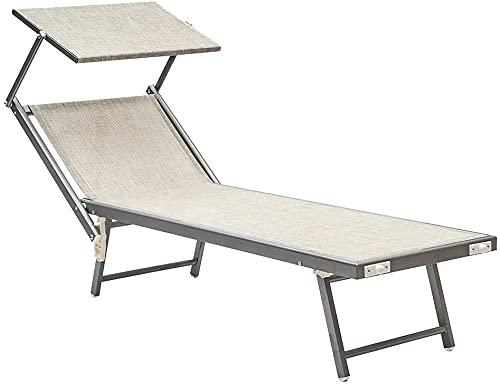Baroni Home Lettino Prendisole con Struttura in Alluminio e Tetto Parasole. Comodo e Resistente lettino da giardino, spiaggia, piscina rivestito in textilene Grigio 60x190x35