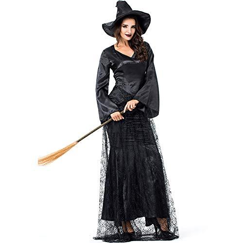 FENGT Halloween Women Es Cosplay Black Spider Web Hexe Cape Outfit Kostüm Kleid,M