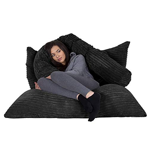 Lounge Pug®, Riesen Sitzsack XXL, Sitzkissen, Cord Schwarz