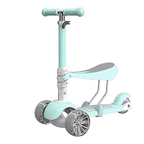 Mini 2-en-1 Kick Scooter con el Asiento extraíble Gran Altura Ajustable W/Extra-Wide Cubierta de la PU Intermitente Ruedas Scooter para niños para niños de 2-14 Años de Edad,Cyan
