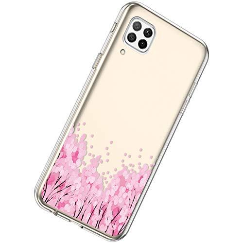 Herbests Kompatibel mit Huawei P40 Lite Hülle Silikon Weich TPU Handyhülle Durchsichtige Schutzhülle Niedlich Muster Transparent Ultradünn Kristall Klar Handyhülle,Pink Blume