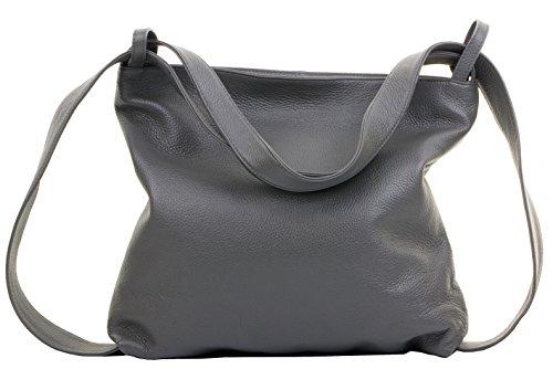 Primo Sacchi Damen Italienisch Dunkelgrau Strukturiertes Leder Grab Schultertasche Handtasche Rucksack