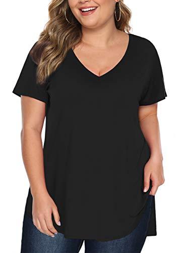 Beluring Plus Size Damen Oberteil Hohen Niedrigen Saum Shirts Elegante Bluse,Schwarz XL