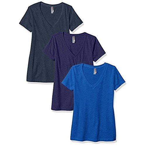 Clementine Apparel Women's Petite Plus Deep V Neck Tee (Pack of 3), Storm/Midnight Navy/Royal, XXL
