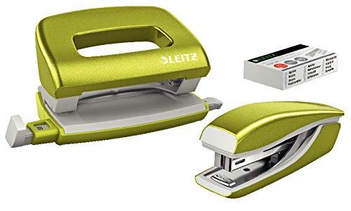 Leitz 55996064 Mini-Heftgerät-und Locher-Set (für bis zu 10 Blatt, Inkl. Heftklammern, WOW) metallic grün