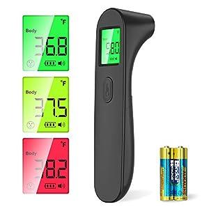 SOYES Termometro Infrarrojos Digitales, Termómetro Infrarrojos Médico sin Contacto con Pantalla LCD, Alarma de Fiebre,℃ y ℉ Conmutable(Negro)