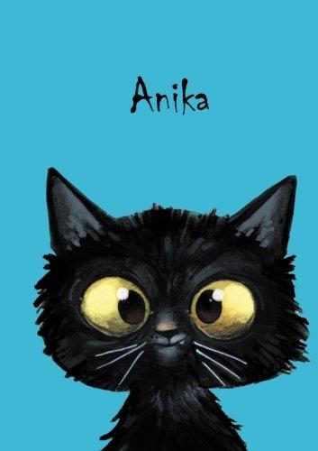 Personalisiertes Notizbuch / Tagebuch - Anika: DIN A5 - 80 blanko Seiten mit kleiner Katze auf jeder rechten unteren Seite.