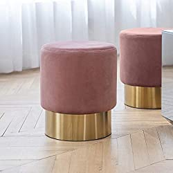 Art Leon Small Round Velvet Ottoman Gold Plating Base Rose Pink