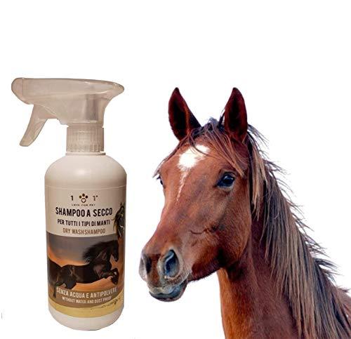 Natuurlijke droge shampoo voor paarden, 500 ml - geen water of spoeling nodig - voor een snelle en effectieve wasbeurt, geschikt voor alle soorten manties, Linea 101