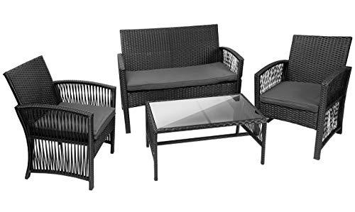 MT MALATEC Polyrattan Gartenmöbel Sitzgruppe Sofa Garnitur Gartenmöbel Gartenset Tisch 11961, Farbe:Schwarz
