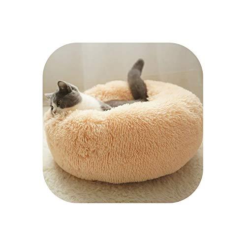 Long Plush Super Soft Pet Bed Kennel Dog Round Cat Winter Warm Sleeping Bag Mat Portable Cat Supplies 50/60/70cm,Brown,60CM