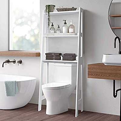 3 Tier Over Toilet Storage Shelf Space Save, 63 × 25 × 12 Inch Bathroom Storage Freestanding Rack, Waterproof Surface, White