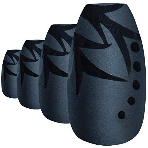 Faux Ongles Bling Art Noir Feuille Mat Ballerine Cercueil 24 Longue Faux bouts d'ongles acrylique avec colle