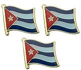Paquete de 3 x Bandera de Cuba Comunista Marxista Comunista Insignias 19 mm x 15 mm