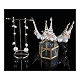 GZDD Tiara de Corona Dorada de Lujo Hecha a Mano para Mujer, joyería Nupcial de Perlas Redondas para Bodas, Bailes, desfiles, Fiestas, Halloween, Set