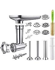 Metalen voedselslijpmachine Attachment Compatibel met alle KitchenAid Stand Mixers en PHISINIC Stand Mixer, Inclusief 3 Worst Stuffer Tubes