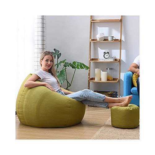 XinQing-sofá Perezoso Bean Bag Lazy Sofa Chair Tatami Personalidad Creativa Dormitorio Sala de Estar Sillón de Tela Individual Cómoda Silla con escabel (Color : Matcha Green, Size : XXL)