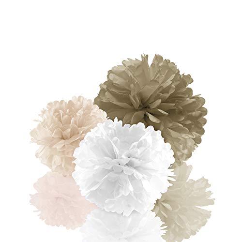 Amazy Seidenpapier Pom Poms (12er Set) – Wunderschöne Seiden Deko-Kugeln zum Aufhängen (Creme)