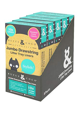Rufus & Coco Drawstring Cat Litter Tray Liners   5 Boxes Value Pack   Jumbo, Apple Scented Dark Gray   Easy Clean Litter Tray Bags   Jumbo Size