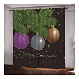 Daesar Cortina para Ventana Opaca Púrpura Gris Amarillo Verde Cortina Poliester Habitacion Bolas de Decoración Navideña Merry Christmas 274x160CM