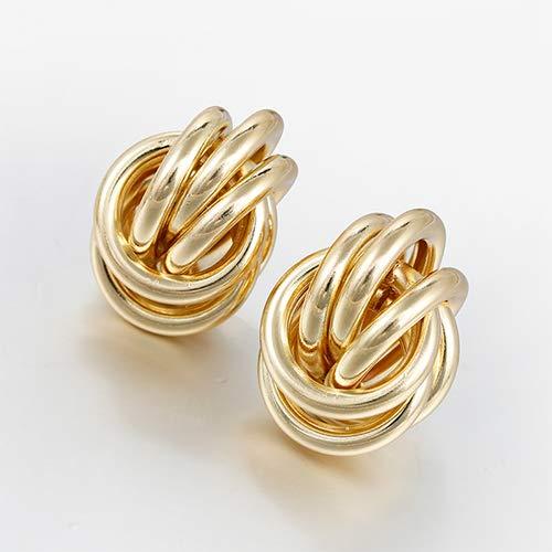 OUMIFA Pendientes Pendientes de Gota de aleación de torsión de Color Dorado para Mujeres Pendientes geométricos Simples de la Boda Joyería de Moda Accesorios de Moda Pendientes de botón para Mujer