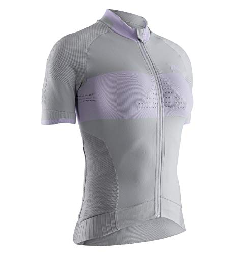 X-Bionic Invent 4.0 Bike Race Zip Chemise Femme, Dolomite Grey/Magnolia Purple, FR (Taille Fabricant : XL)