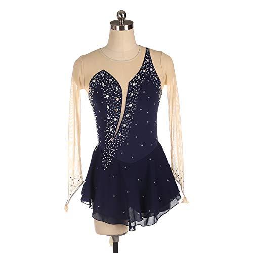 XER gymnastiek, lange mouw, dansen, balletje, gymnastiek, shirt voor meisjes, 5-12 jaar, helling-kleuren diamantbont-ontwerp, zwart, maat M