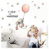 Little Deco Aufkleber Maus mit Spruch Sei wild I S - 16 x 29 cm (BxH) I Luftballon Wandbilder Wandtattoo Kinderzimmer Mädchen Tiere Deko Babyzimmer Kinder DL314