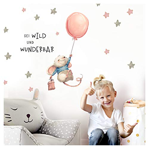 Little Deco sticker muis met spreuk Sei wild II luchtballon muurfoto's muurtattoo kinderkamer meisjes dieren deco babykamer kinderen DL314 L - 40 x 79 cm (BxH)