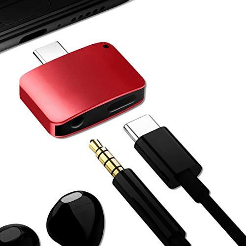 Durable 3 en 1 Cargue/Escucha/Call Type-C Convertidor de Audio, para Galaxy S8 & S8 + / LG G6 / Huawei P10 y P10 Plus/XIAOMI MI 6 & MAX 2 y Otros teléfonos Inteligentes (Negro) (Color : Red)