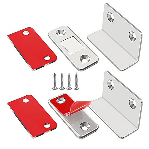 Cabinet Magnetic Catch L-Shaped Jiayi 2 Pack Ultra Thin Cabinet Door Magnetic Catch for Drawer Magnets Adhesive Cabinet Latch Magnetic Closures for Kitchen Closet Door Closing Magnetic Catch Closer
